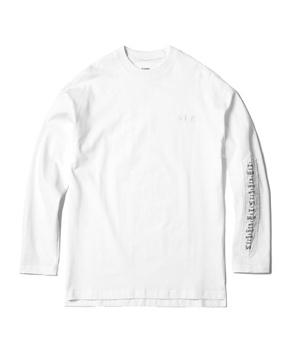 Patched Long Sleeve Tee (White)