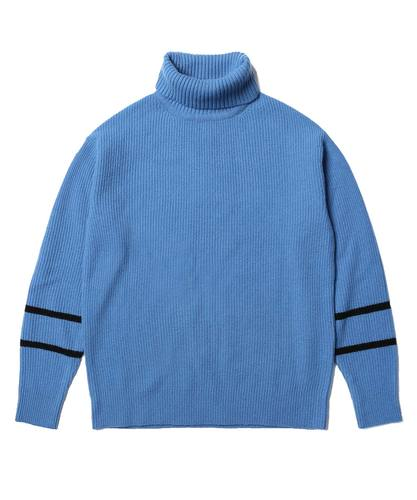 Lambswool Turtle Neck Knit Blue